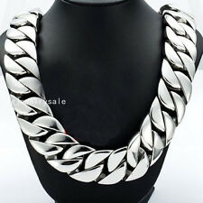 Huge Heavy Stainless Steel Mens Silver Cuban Curb Chain Necklace 32mm 28inch