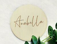 PERSONALISED NAME BABY WOODEN MILESTONE PLAQUE, LASER ENGRAVED PLAQUE, NP6