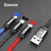 Baseus 3 in 1 Type C Micro USB Fast Charging Charger Data Sync Cable Cord