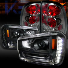 02-09 Trailblazer Black SMD LED DRL Projector Headlights+Smoke Tail Lamps