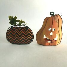 "Two Halloween Pumpkin Candle Light Holders Metal Statue 5.5"" & 4"""