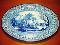 ATTRACTIVE VINTAGE FOLK ART BLUE METAL SERVING TRAY PLATE FROM GREECE!