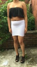 Women's High Quality Bodycon Slim Crinkled Ribbed Short Dress Micro Mini Skirt