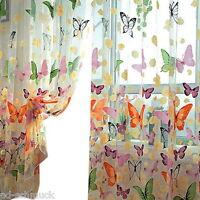 1 Schmetterling Gardinen Fenster Vorhang Voile Dekoschal Transparent 1x2m