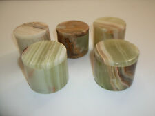 "5 Round Marble Pin Boxes Trinket Dresser Brown Green 1-3/4"" Polished Lot New #2"