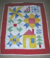 HANDMADE WALL ART WHITE BLUE RED GREEN Quilt QUILTED BABY BLANKET CRIB LAP 36X29