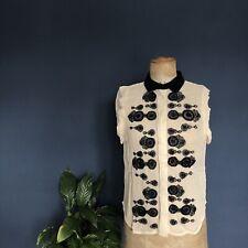 DAY Birger et Mikkelsen Black Embellished Sequin Silk Blouse Top Size 8 EU 34