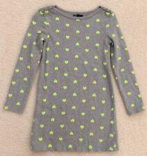 Gap Kids Gray Dress Green Hearts Size M 8