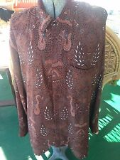 DANAR HADI SOLO-INDONESIA XXL Cotton Shirt SZ 3L Cool Batik Paisley Print  XL 50