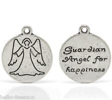 "30 Silver Tone Angel Charm Round Pendants 20mm x 18mm(3/4""x3/4"")"