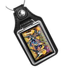 Hard Rock Band Kiss Pinball Glass Game Design Faux Leather Key Ring