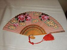 "Antique Hand Fan Fancy Painted Bamboo w/Hand Painted Roses   8"" Japan"