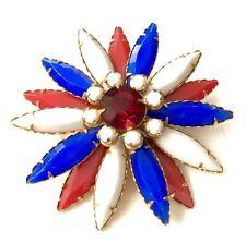 Vtg Red White Blue Prong Set Rhinestone Starburst Flower Brooch