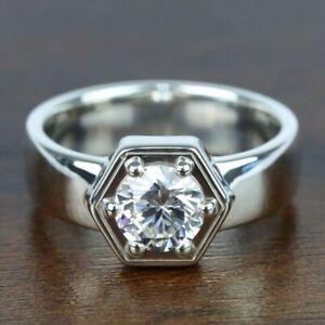 14K White Gold 2.12 Ct Diamond Men's Classic Solitaire Engagement & Wedding Ring