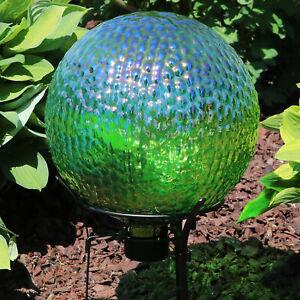 """Sunnydaze Green Textured Surface Glass Outdoor Garden Gazing Globe Ball - 10"""""""