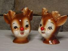 Vintage Lefton Red Nose Reindeer Salt and Pepper Shakers.Lefton Decal
