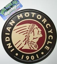 Vintage Replica Tin Metal Sign 1901 Indian motorcycle parts & service round 2160