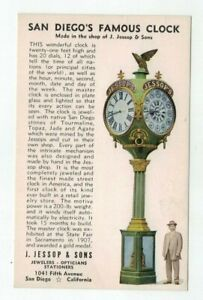 "CA San Diego California vintage post card ""Famous Clock Made by Jessop & Sons"""