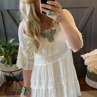 NWT Womens Bohemian White Lace Crochet Tunic Dress Festival Sizes S M L