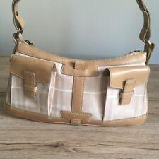 Burberry small leather and canvas shoulder bag woman hand bag handbag