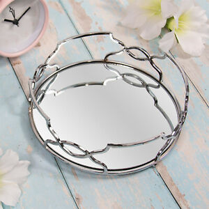 Silver Mirror Diamante Candle Plate Tray Jewellery Ornament Tray Tealight Holder