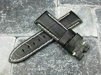 24mm Black Deployment Strap Small Leather Short Watch Band S PAM Y