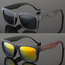 Classic Retro Women Men Eyewear Sunglasses Faux Wood Reflective Color Lens