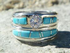 Native American Indian Navajo Wedding Rings Band Turquoise CZ Muskett Sz 9 3/4