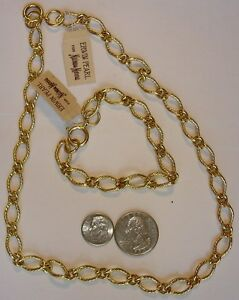 """New Vintage Erwin Pearl 16"""" Florentine Gold Finish Link Necklace ~ 1980's ~ 6H"""