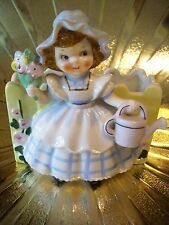 Very RARE VTG Mary Quite Contrary Girl w/ Watering Can Planter Figurine