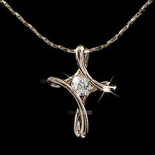 18k rose gold gf made with SWAROVSKI crystal cross pendant necklace elegant