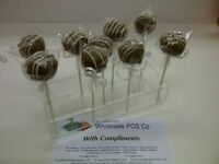 5 X POP CAKE / LOLLIPOP PERSPEX ACRYLIC STANDS HOLDS 11 CAKE PUSH POPS UK MADE