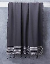 Charcoal Grey Tassel Bath Towel With White Stripes 100% Turkish Cotton 1.95*1M