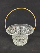 Vintage Avon Clear Glass Basket with Gold Tone Metal Rope Handle Basket