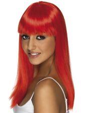 Neon Red Glamourama Wig Long Straight w/ Fringe Smiffys Fancy Dress Costume