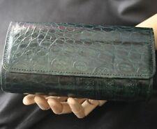 Vintage Bottle Green Alligator Clutch Handbag Purse