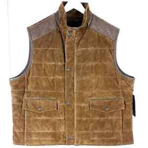 Roundtree & Yorke 2XB NWT Brown Suede Leather Vest Big Man Zip Up Button Snap