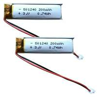 2pcs 3.7V 220mAh Lipo polymer Battery cell 501240 For Bluetooth GPS MP3 headset