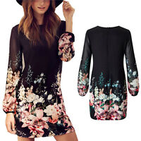 Women Summer Casual Long Sleeve Party Evening Cocktail Floral Short Mini Dresses