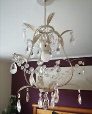Laura Ashley Cream Leaf Crystal Pendant Chandelier Light Fitting