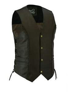 Mens Motorcycle Style Real Leather Waistcoat Braided Gilet Vest With Side laces