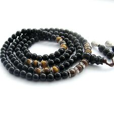 6mm 108 Tiger Eye Gem Black Mala bracelet Glass Tibet Buddhist Prayer Beads