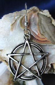 Ohrringe Pentagramm Stern mit Kreis silberfarben mit Haken aus Silber 925