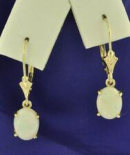 14k Solid Yellow Gold Dangling AAA Oval Australian Opal Earring lever back