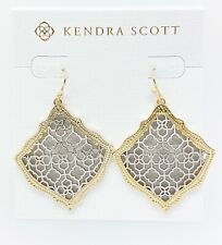 New Kendra Scott Kirsten 030 Gold Drop Earrings Silver Tone Filigree Mix