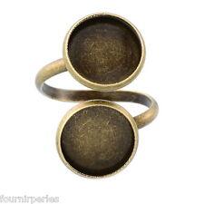 25 Bagues Anneaux Spiral Support Pour Plateau Camée Cabochon Réglable Bronze