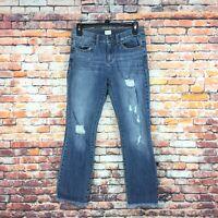 Sneak Peek Womens Size 3 Juniors Mid Rise Distressed Frayed Hem Medium Wash Jean