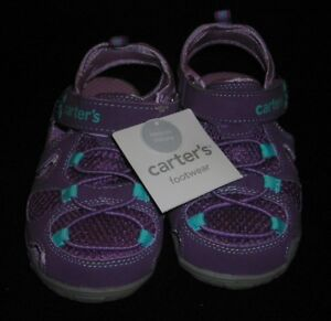 CARTERS FOOTWEAR CHILDRENS EASY ON CLOSURE PURPLE SANDALS TODDLER SIZE 10