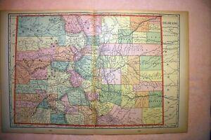 """Colorado Antique Color Map 1901 State of Colorado Cram's 14½"""" x 22"""""""