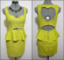 SHAREEN Evening Cocktail DRESS Sz 8 Green Yellow Peplum Bodycon Work Textured